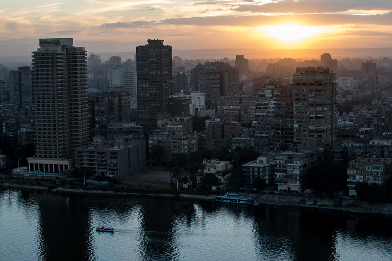 High-elevation view of the Nile River and east bank in Cairo, Egypt.