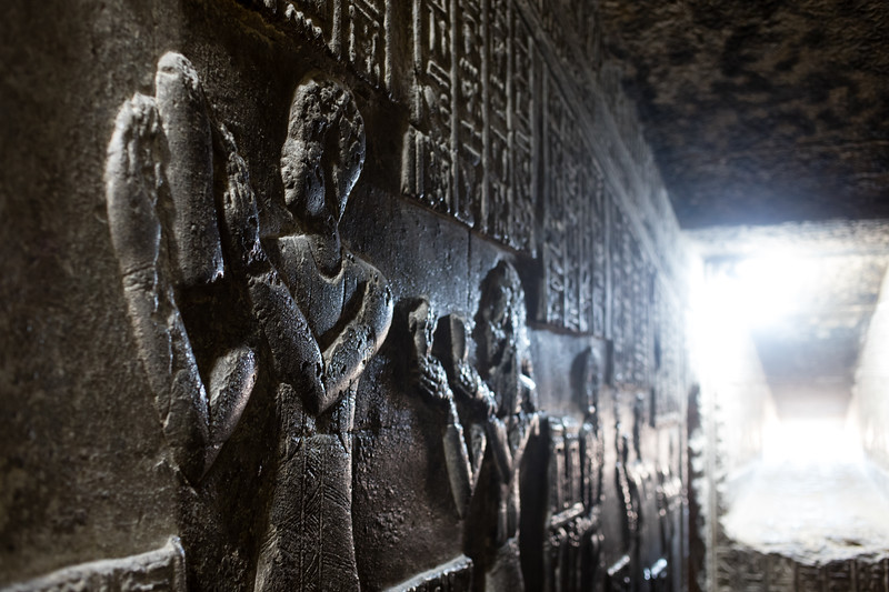 Carvings inside the staircases of Dendera Temple in Upper Egypt.