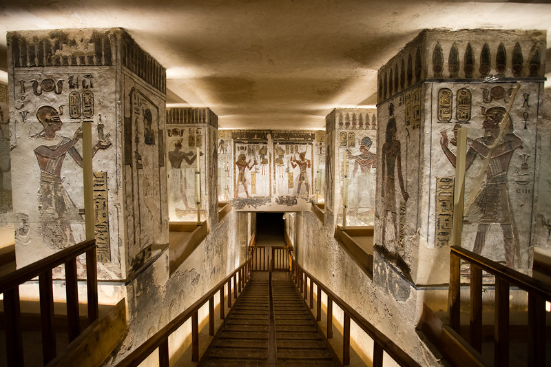 Artwork inside the Tomb of Ramses 3 in the Valley of the Kings in Luxor, Egypt.