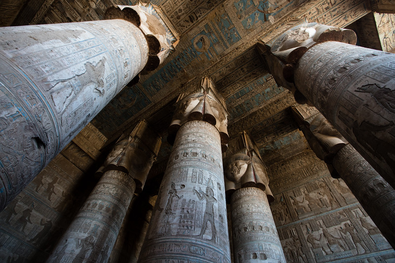 Ornately carved columns reach to the roof of Dendera Temple in Upper Egypt.