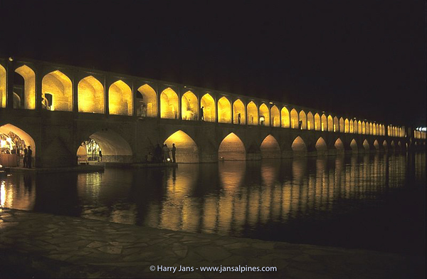 Sio Seh Bridge by night in Esfahan