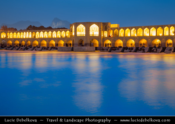 Middle East - Iran - Isfahan Province - Esfahan - Isfahan - UNESCO World Heritage Site - Marvel of Islamic Architecture & Iran's number-one tourist destination - Khaju Bridge - Khajoo Bridge - Oldest Bridge of Isfahan across Zayandeh River, 133 metres long and 12 metres wide with 24 arches - One of the finest examples of Persian architecture at the height of Safavid cultural influence