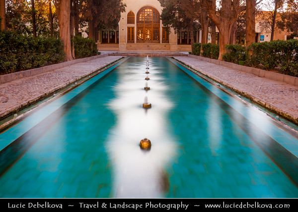 Middle East - Iran - Isfahan Province - Kashan - Ancient oasis town on edge of Dasht-e Kavir Desert - Fin Garden - Bagh-e Fin - Historical Persian garden containing many great water features