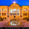 Middle East - Iran - Isfahan Province - Kashan - Ancient oasis town on edge of Dasht-e Kavir Desert - Tabatabaie Residence - Tabātabāei Historic House with several courtyards, which once belonged to a wealthy merchant, consisting of delightful wall paintings with elegant stained glass windows or wind towers - Dusk - Twilight - Blue Hour - Night