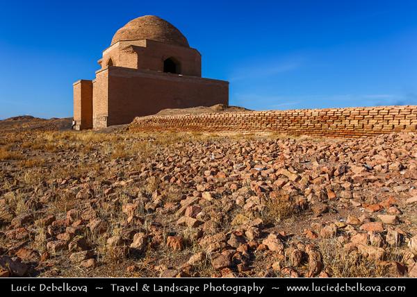 Middle East - Iran - Razavi Khorasan Province - Northeast part of Iran - Mashhad Surrounding - Sangbast Robat - Sang Bast Ribat - Small Caravanserai - Khan - Place of rest for Caravan - Roadside Inn for travelers on Silk Road trade routes - Caravansary, caravansaray, caravansara - 11-15th century AD caravanseray completely ruined, except restored mausoleum and Mil-i Ayaz minaret - Arslan Jadhib (Amiraslan Jazeb, Aslan Jazib) Gunbad