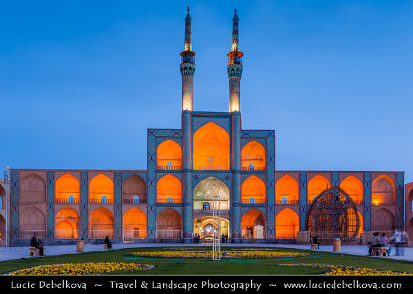 Middle East - Iran - Yazd - Desert city famous for its wind towers - Centre of Zoroastrian culture - Historical city center - Old Town - Amir Chakhmaq Complex - Chakmaq, Chakhmagh, Chakmak - Prominent and iconic structure noted for its symmetrical sunken alcoves