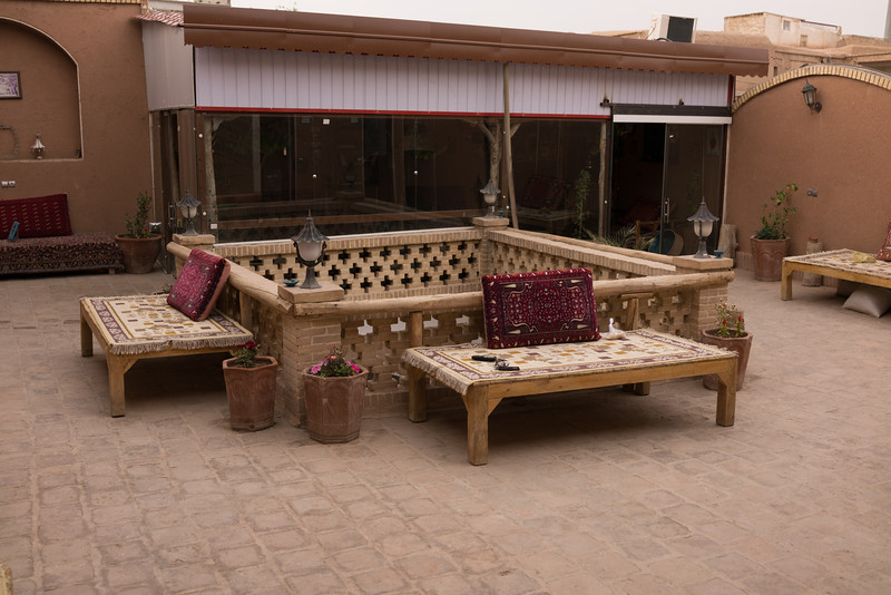 Traditional hotel and nice courtyard to meet up