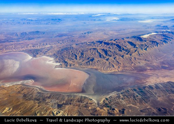 Middle East - Iran - Zagros Mountains - Aerial View - Maharloo Lake - دریاچه مهارلو‎‎  - Daryache-ye-Namak - Seasonal salt lake located 27 kilometres southeast of the city of Shiraz -