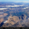 Middle East - Iran - Fars Province - Zagros Mountains - Largest mountain range in Iran - Impressive landscape of long linear ridges and valleys formed by collision of Eurasian and Arabian tectonic plates - Aerial View