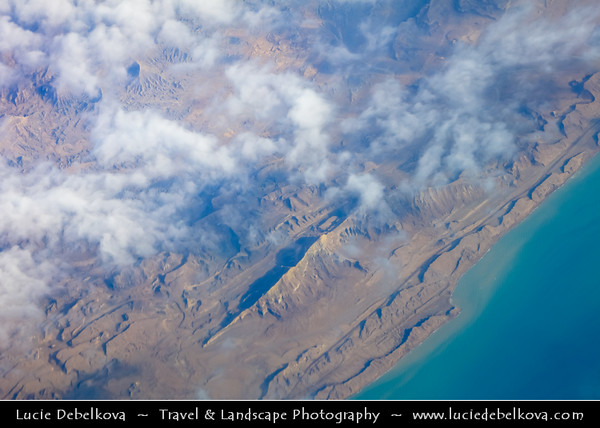 Middle East - Iran - Qeshm - قشم‎‎ - Kishm - Iranian island in Strait of Hormuz separated from the mainland by Clarence Strait/Khuran in Persian Gulf - Aerial View