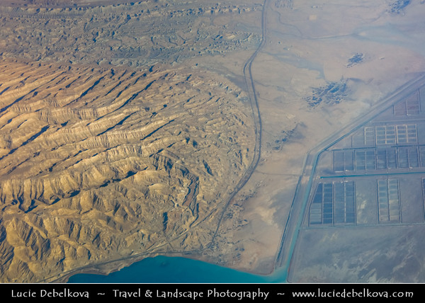 Middle East - Iran - Hormozgan Province - Khamir County - Iranian coast along Strait of Hormuz - Clarence Strait/Khuran in Persian Gulf - Aerial View