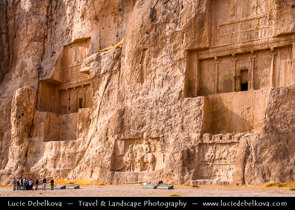 Middle East - Iran - Fars Province - Naqsh-e Rustam - Ancient necropolis located about 12 km northwest of Persepolis with four tombs belonging to Achaemenid kings carved out of the rock face at considerable height above the ground