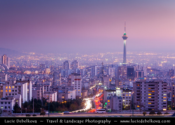 Middle East - Iran - Tehran - Capital of Iran - Tehran Cityscape & Borj-e Milad - Milad Tower -  برج میلاد - Tallest tower in Iran & part of The Tehran International Trade and Convention Center