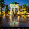 Middle East - Iran - Fars Province - Shiraz - City of poets - City of gardens - Hafezieh - Pavilion over Tomb of Hafez in Musalla Gardens illuminated at Dusk - Twilight - Blue Hour - Night