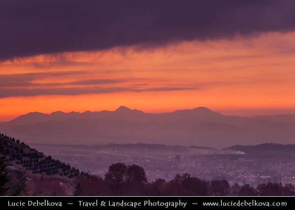 Middle East - Iran - Tehran - Capital of Iran - Early Morning Sunrise over Tehran City with Surrounding Mountains