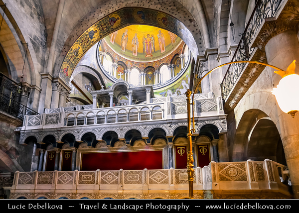 Israel - Jerusalem - יְרוּשָׁלַיִם - Capital City - One of the oldest cities in the world - Holiest city in Jewish tradition since, according to the Hebrew Bible, King David of Israel - Church of the Holy Sepulchre - Basilica of the Holy Sepulchre - Church of the Resurrection by Eastern Christians within the Christian Quarter of the walled Old City of Jerusalem - Identified as the place both of the crucifixion and the tomb of Jesus of Nazareth