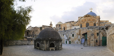 Roof top of a part of the Church of the Holy Sepulchre. The main church dome is in the background. This is a panorama of five shots.