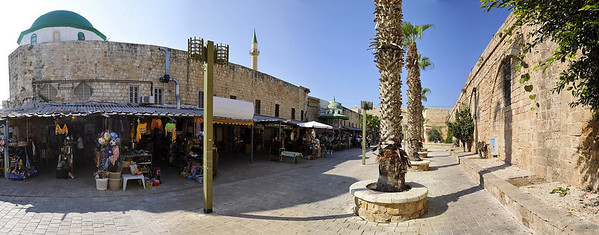 Panorama of the El-Jazzar Street next to the namesake mosque.