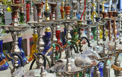 Hookahs at the souk or market.