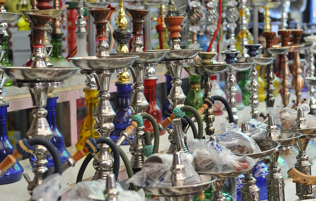 Hookahs at the souk or market.
