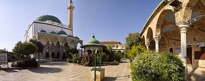 Panorama of the grounds of the El-Jazzar mosque.