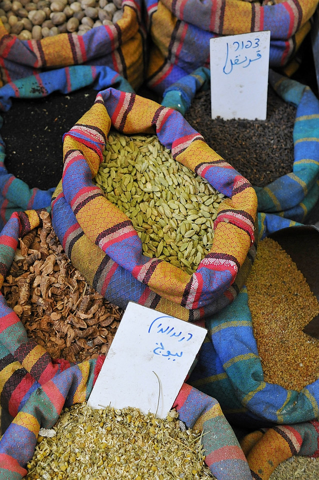 Colorful spices for sale at the souk or market.