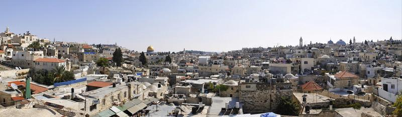Panorama of old Jerusalem from the ramparts about the Damacus Gate. The gold dome is the Dome of the Rock temple and the grey church on the skyline on the right is the Church of the Holy Sepulchre.