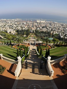 View of the Bahá'í Shrine of the Báb and the perfectly manicured gardens from the topmost terrace looking down towards to sea.