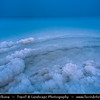 Israel - Dead Sea - Salt Sea - Surface & shores are 423 metres below sea level - Earth's lowest elevation on land - Salt crystals form on the shore of the Dead Sea creating an other-worldly landscape