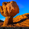 Israel - Eilat - Timna National Park - Beautiful natural desert area - Mushroom Rock - Very beautiful and unusual mushroom-shaped, red sandstone rock formation