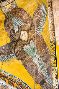 A winged angel adorns the side of a column inside the Hagia Sofia