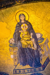 Mary on the dome of the apse inside the Hagia Sofia