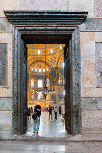 Looking through one of the Imperial doors into the nave of the Hagia Sofia.