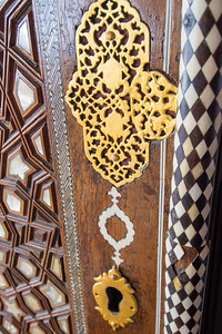 Detail of door lock on one of the mausoleums outside Hagia Sofia