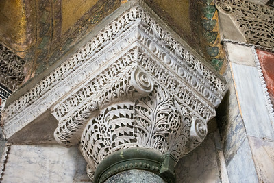 Intricately carved capital of one the columns inside the Hagia Sofia. This one looks recently cleaned.