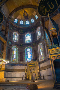 The apse of the Hagia Sofia was converted for Islam by adding a mihrab (to indicate direction to Mecca) and a minbar to the right where the Imam would preach.