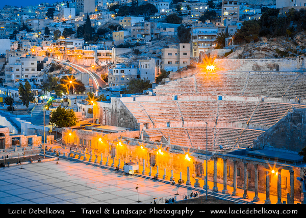 Jordan - Hashemite Arab Kingdom of Jordan - Amman - Capital & largest city of Jordan - Country's political, cultural and commercial centre and one of the oldest continuously inhabited cities in the world - Ancient Roman theater - Restored Roman Theatre is the most obvious and impressive remnant of Roman Philadelphia, and is the highlight of Amman for most foreign visitors