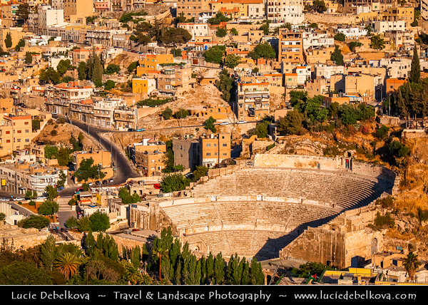 Middle East - Jordan - Hashemite Arab Kingdom of Jordan - Amman - Capital & largest city of Jordan - Country's political, cultural and commercial centre and one of the oldest continuously inhabited cities in the world - Ancient Roman theater - Restored Roman Theatre - Most impressive remnant of Roman Philadelphia - One of Amman's highlights