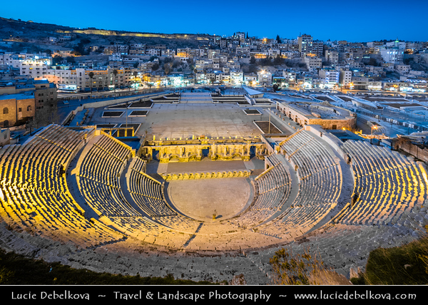 Middle East - Jordan - Hashemite Arab Kingdom of Jordan - Amman - Capital & largest city of Jordan - One of oldest continuously inhabited cities in world - Ancient Roman theater - Restored Roman Theatre - Most impressive remnant of Roman Philadelphia - One of Amman's highlights