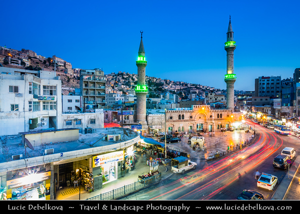 Jordan - Hashemite Arab Kingdom of Jordan - Amman - Capital & largest city of Jordan - Country's political, cultural and commercial centre and one of the oldest continuously inhabited cities in the world - Grand Husseini Mosque - al-Husseini Mosque in heart of modern downtown Amman - Ottoman-style mosque