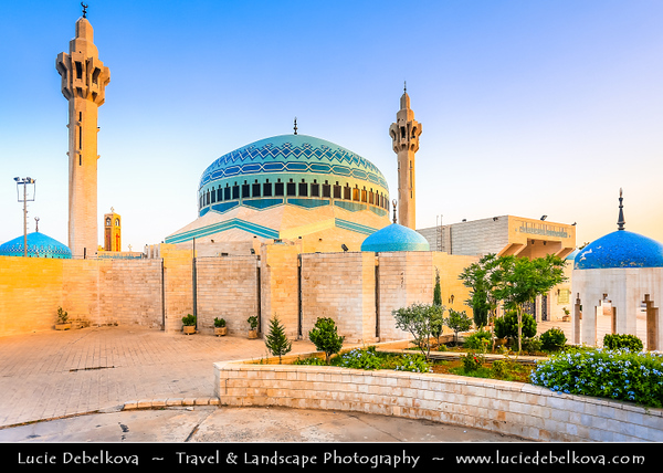 Jordan - Hashemite Arab Kingdom of Jordan - Amman - Capital & largest city of Jordan - Country's political, cultural and commercial centre and one of the oldest continuously inhabited cities in the world - King Abdullah I Mosque - Beautiful & instantly recognizable Blue Dome Mosque completed in 1990 as a memorial to the late King Hussein's Grandfather
