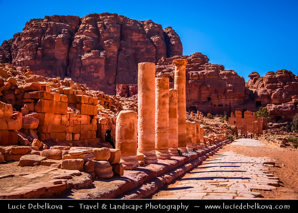 Middle East - Jordan - Hashemite Arab Kingdom of Jordan - Petra - UNESCO World Heritage Site - Rose City - World famous historical & archaeological  Nabataeans city carved from the red sandstone cliffs on the slope of Jebel al-Madhbah - Jordan's most valuable treasure and greatest tourist attraction