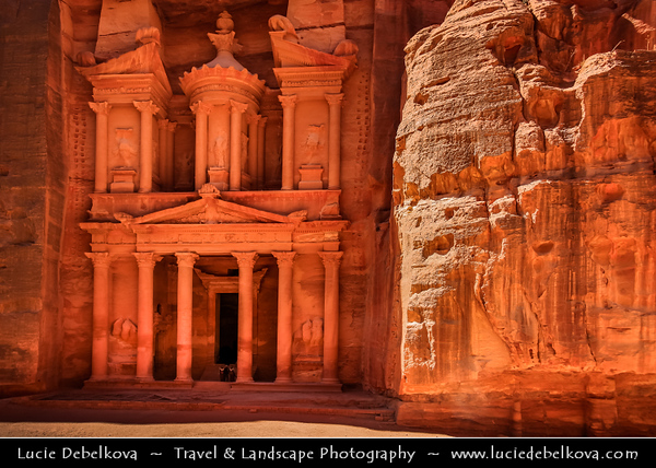 Middle East - Jordan - Hashemite Arab Kingdom of Jordan - Petra - UNESCO World Heritage Site - Rose City - World famous historical & archaeological  Nabataeans city carved from the red sandstone cliffs on the slope of Jebel al-Madhbah - Jordan's most valuable treasure and greatest tourist attraction - Treasury - Al Khazneh - One of the most elaborate temples in the ancient Edomite city of Petra