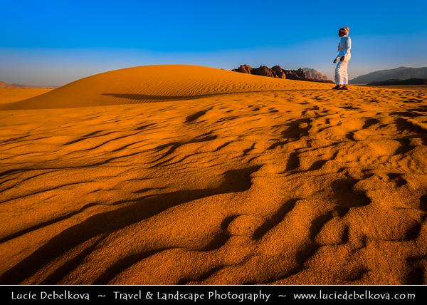 Jordan - Hashemite Arab Kingdom of Jordan - Wadi Rum - UNESCO World Heritage Site - The Valley of the Moon - Spectacularly scenic desert valley cut into the sandstone and granite rock in southern Jordan - Traditional bedouin life in desert
