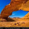 Jordan - Hashemite Arab Kingdom of Jordan - Wadi Rum - UNESCO World Heritage Site - The Valley of the Moon - Spectacularly scenic desert valley cut into the sandstone and granite rock in southern Jordan - Big Natural Arch carved by nature forces
