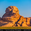 Jordan - Hashemite Arab Kingdom of Jordan - Wadi Rum - UNESCO World Heritage Site - The Valley of the Moon - Spectacularly scenic desert valley cut into the sandstone and granite rock in southern Jordan - Sphinx Rock