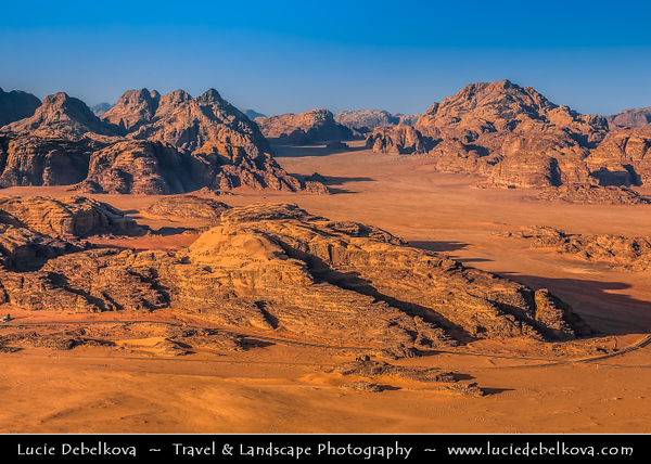 Jordan - Hashemite Arab Kingdom of Jordan - Wadi Rum - UNESCO World Heritage Site - The Valley of the Moon - Spectacularly scenic desert valley cut into the sandstone and granite rock in southern Jordan - Flight in hot air balloon with stunning view over the desert landscape