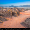 Jordan - Hashemite Arab Kingdom of Jordan - Wadi Rum - UNESCO World Heritage Site - The Valley of the Moon - Spectacularly scenic desert valley cut into the sandstone and granite rock in southern Jordan - View from above
