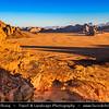 Jordan - Hashemite Arab Kingdom of Jordan - Wadi Rum - UNESCO World Heritage Site - The Valley of the Moon - Spectacularly scenic desert valley cut into the sandstone and granite rock in southern Jordan