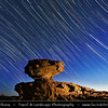 Jordan - Hashemite Arab Kingdom of Jordan - Wadi Rum - UNESCO World Heritage Site - The Valley of the Moon - Spectacularly scenic desert valley cut into the sandstone and granite rock in southern Jordan - Startrails over desert landscape